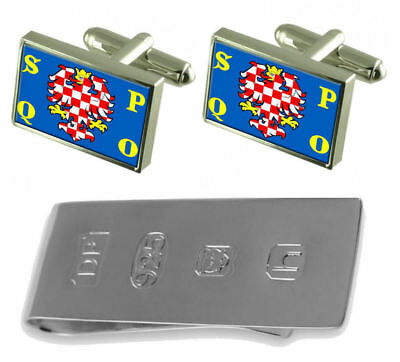 Olomouc City Czech Republic Flag Cufflinks & James Bond Money Clip