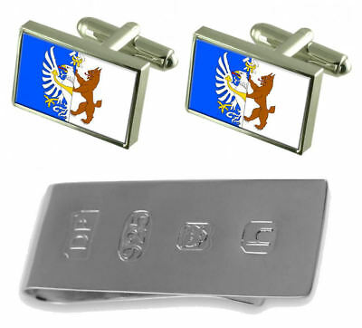 Kladno City Czech Republic Flag Cufflinks & James Bond Money Clip