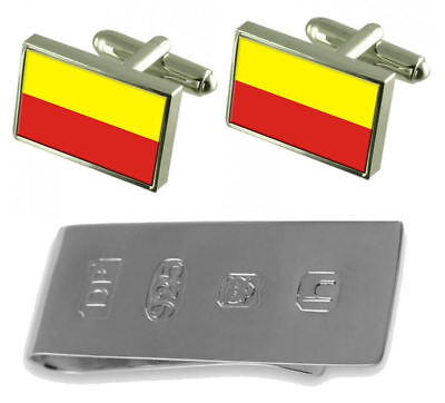 Ceska Budejovice City Czech Republic Flag Cufflinks & James Bond Money Clip