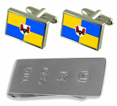 Prerov City Czech Republic Flag Cufflinks & James Bond Money Clip