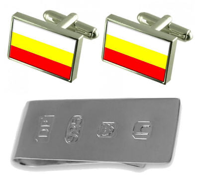 Hradec Kralove City Czech Republic Flag Cufflinks & James Bond Money Clip