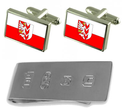 Opava City Czech Republic Flag Cufflinks & James Bond Money Clip