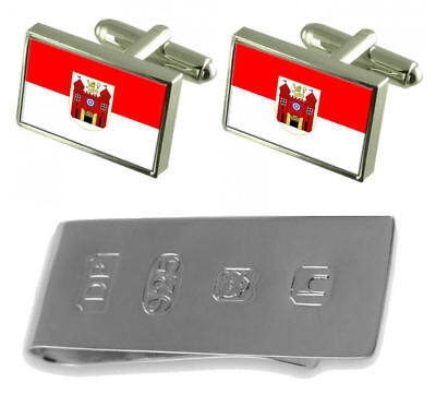 Liberec City Czech Republic Flag Cufflinks & James Bond Money Clip