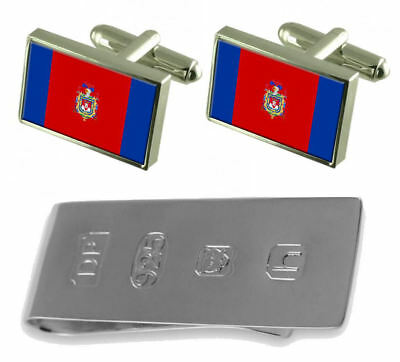 Quito City Ecuador Flag Cufflinks & James Bond Money Clip