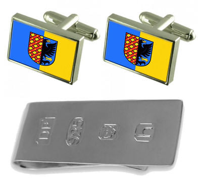 Prostejov City Czech Republic Flag Cufflinks & James Bond Money Clip