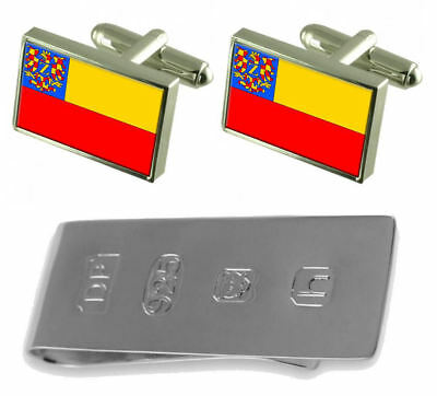Znojmo City Czech Republic Flag Cufflinks & James Bond Money Clip