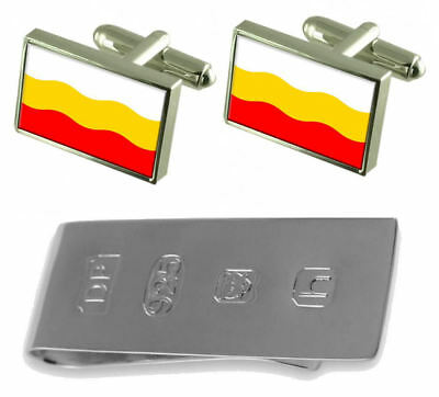 Decin City Czech Republic Flag Cufflinks & James Bond Money Clip