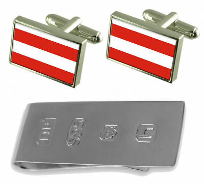 Brno City Czech Republic Flag Cufflinks & James Bond Money Clip