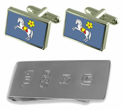 Ostrava City Czech Republic Flag Cufflinks & James Bond Money Clip