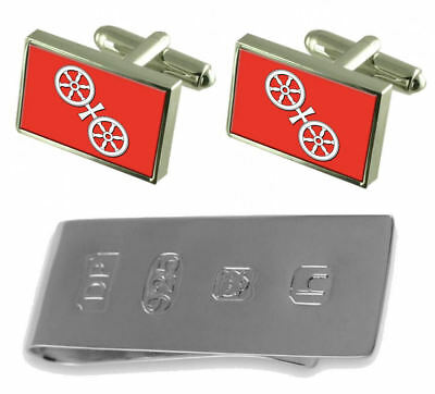 Mainz City Germany Flag Cufflinks & James Bond Money Clip