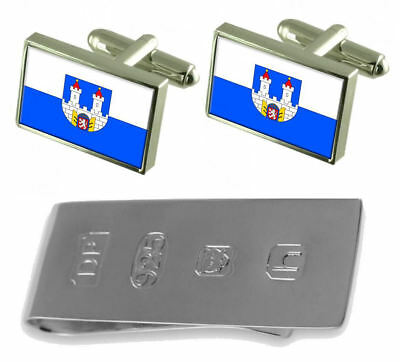 Chomutov City Czech Republic Flag Cufflinks & James Bond Money Clip