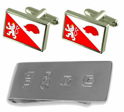 Jihlava City Czech Republic Flag Cufflinks & James Bond Money Clip