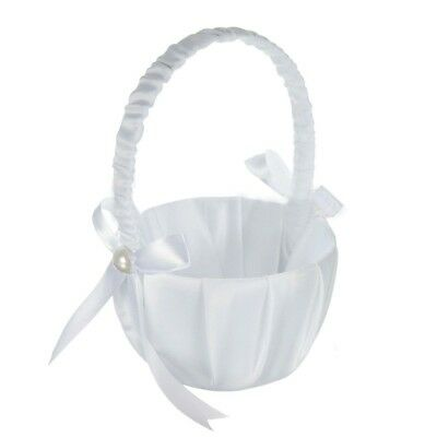 Romantic White Satin Bowknot PEARL Flower Girl Basket Wedding Ceremony Part V7A2