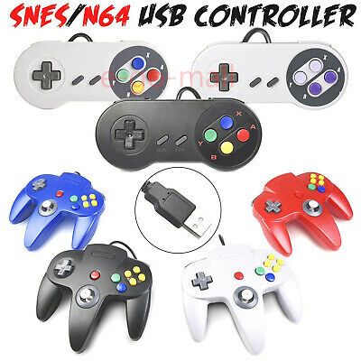 Wired N64 SNES USB Controller Game Pad Joypad for Windows PC Mac Raspberry Pi 3