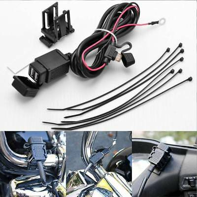 Motorcycle 12V 2USB Mobile Phone Power Supply Port Socket GPS Charger Waterproof