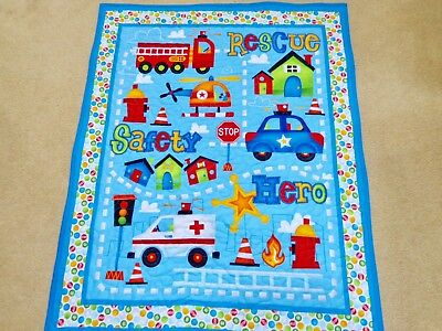 """NEW HAND MADE COLORFUL RESCUE VEHICLE  QUILT 35""""x43"""""""
