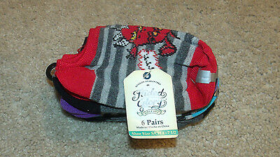 Faded Glory Boys/Baby Socks-6 Pairs-No Show-Monsters/Color-Fits Shoe Sz 4-9-New!