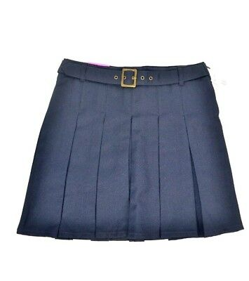 French Toast Girls Uniform Scooter Skirt w/ Square Buckle Belt, Navy 16