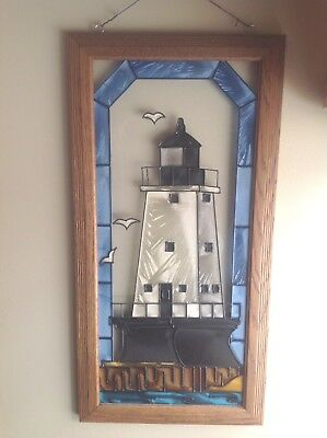N. Breakwater Ludington Michigan Stained Glass Window Lighthouse Wall Hanging
