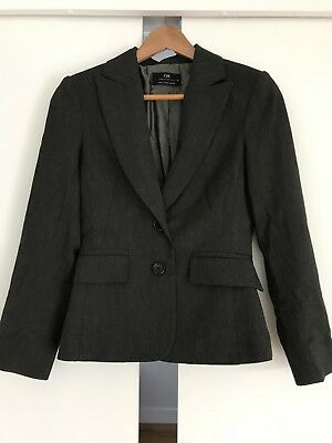 CUE Charcoal Grey Suit Jacket Blazer Size 6