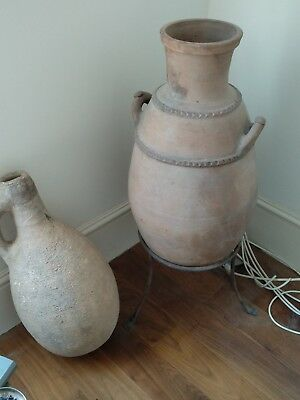 2 Terracotta Large Greek Antique Pot Vase Garden Pottery 1 with stand