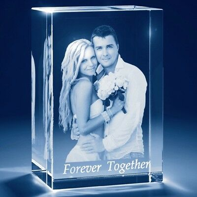 PERSONALISED 3D LASER ENGRAVED CRYSTAL CUBE, Birthdays, Wedding, All Occasions