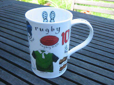 Dunoon bone china mug LITTLE BITS OF RUGBY designed by Kate Mawdesley