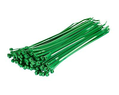 Green Nylon Cable Ties - 100 Pack - High Quality Coloured Plastic Zip Tie Wraps