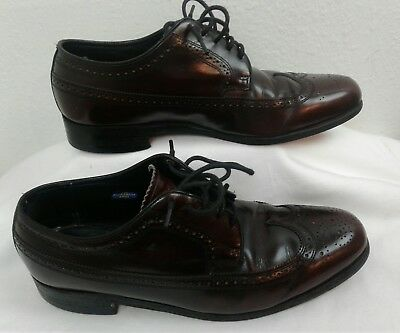 Vintage FLORSHEIM IMPERIAL Shell Cordovan Leather Long Wing Tip Oxfords Sz 8.5