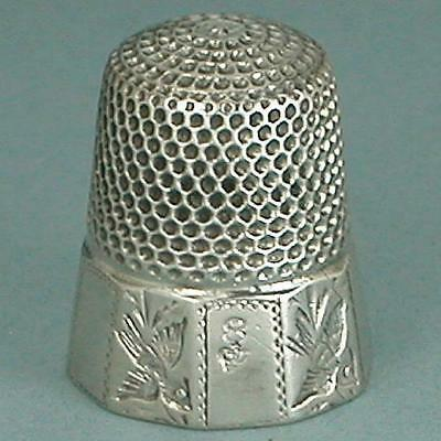 Antique Sterling Silver Birds Band Thimble by H. Muhr's Sons * Circa 1890s