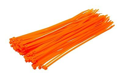 Fluorescent Neon Orange Nylon Cable Ties - 100 Pack - Plastic Zip Tie Wraps