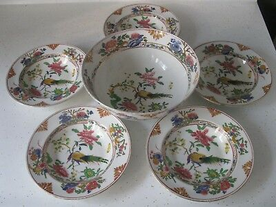Set Of 6 Booths England Silicon China Bowls Peacock Pattern Hand Painted Marks