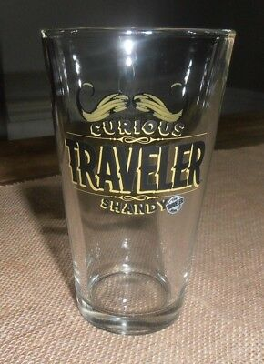 NEW THE CURIOUS TRAVELER BEER COMPANY Shandy Beer Pint Glass Fun Mustache! fc6c050bf863