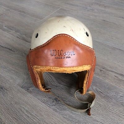 Vintage Antique 1940s WILSON Wing Back Leather Football Helmet Sz 7 1/4 old