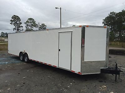 New 8.5X28 V-Nose Enclosed Car Hauler Trailer Race Ready 1 Pc Roof Radial Tires