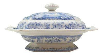 """HTF Antique Herculaneum """"French Scenery"""" Earthenware Covered Dish Circa 1833"""