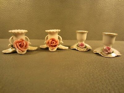 Collection of 2 Pairs of German Porcelain Candle Holders Von Schierholz
