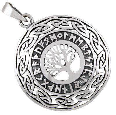 Tree of life pendant with runes viking celtic jewelry 925 sterling silver b642