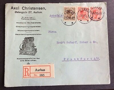 wonderful old canceled cover from Aarhus Denmark 1923 with stamps to Frankfurt