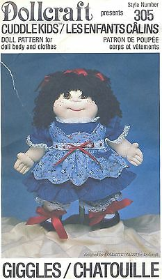 Doll Pattern Cuddle Kids Soft Sculpture Cloth Doll Giggles Body with Clothes 305