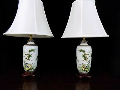 """25"""" Matched Pair Of Jingdezhen Chinese Porcelain Vase Lamps Mirror Image"""