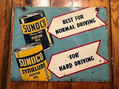Vintage Sunoco Sign 1948 Double Sided Tough To Find