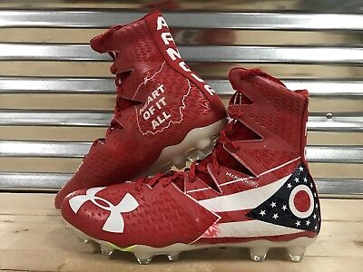 503e27e63e83 Under Armour Highlight MC LE Ohio Football Cleats Red White USA SZ (1275479- 611