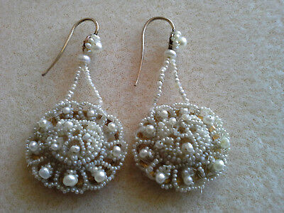 Victorian/ Georgian, Antique Natural Seed Pearls On Mother Of Pearl  Earrings