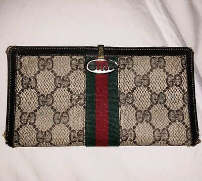 VINTAGE 100% Auth GUCCI Womens Mens WALLET GG HINGE CLASP