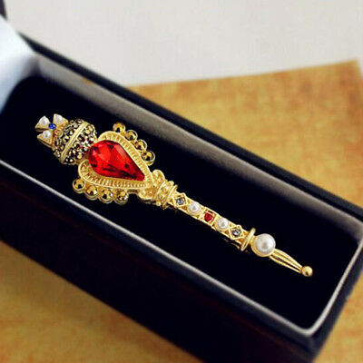 Vintage Ruby Pearls Gold Rule Scepter Crystal Cross BROOCH Pin Magic Wand Gift