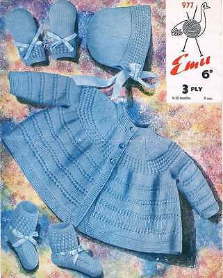 Vintage Baby Layette Knitting Pattern 2 Sizes 1 6 Mth 6 12 Mth 3