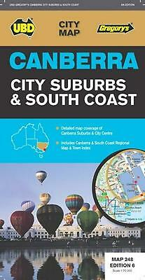 Canberra City Suburbs & South Coast Map 248 6th ed by UBD Gregorys Free Shipping