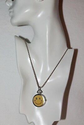 Vintage Happy face & sterling silver chain watch necklace, glow in the dark