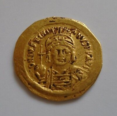 JUSTINIAN I the GREAT 527AD ANCIENT Byzantine Gold SOLIDUS COIN RARE